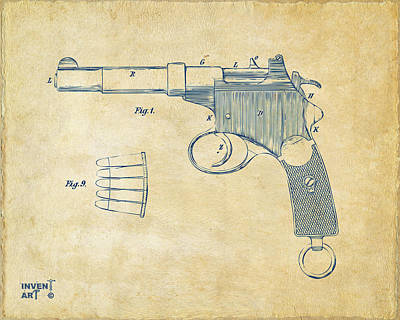 1897 Mannlicher Pistol Patent Minimal - Vintage Art Print by Nikki Marie Smith