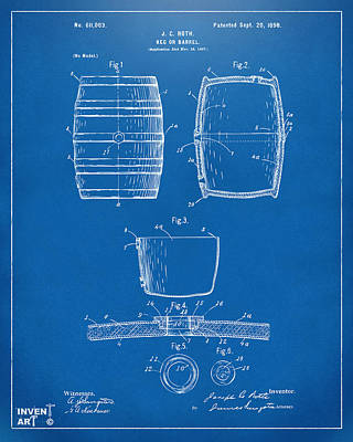 Beer Digital Art - 1898 Beer Keg Patent Artwork - Blueprint by Nikki Marie Smith