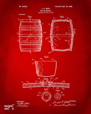 Liquor Digital Art - 1898 Beer Keg Patent Artwork - Red by Nikki Marie Smith