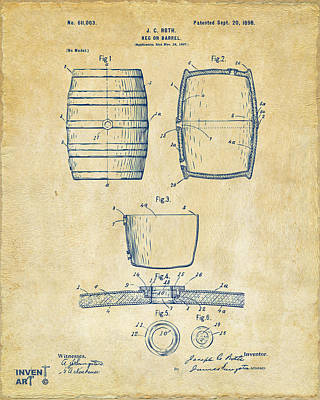 Liquor Digital Art - 1898 Beer Keg Patent Artwork - Vintage by Nikki Marie Smith