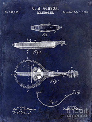 Mandolin Photograph - 1898 Gibson Mandolin Patent Drawing Blue by Jon Neidert