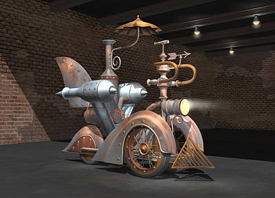Digital Art - 1898 Steam Scooter by Stuart Swartz