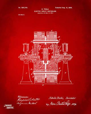Digital Art - 1898 Tesla Electric Circuit Patent Artwork - Red by Nikki Marie Smith