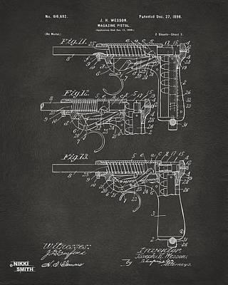 Digital Art - 1898 Wesson Magazine Pistol Patent Artwork 2 - Gray by Nikki Marie Smith