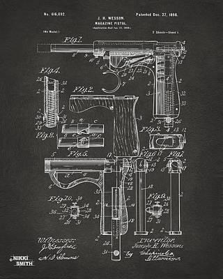 Digital Art - 1898 Wesson Magazine Pistol Patent Artwork - Gray by Nikki Marie Smith