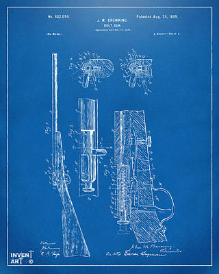 Bolt Digital Art - 1899 Browning Bolt Gun Patent Blueprint by Nikki Marie Smith