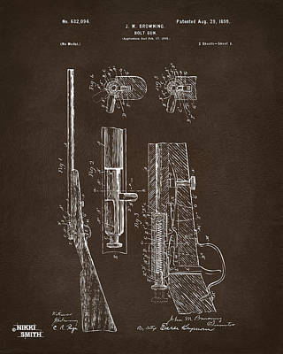 Bolt Digital Art - 1899 Browning Bolt Gun Patent Espresso by Nikki Marie Smith