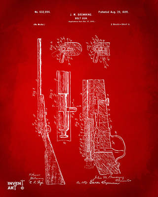 Bolt Digital Art - 1899 Browning Bolt Gun Patent Red by Nikki Marie Smith