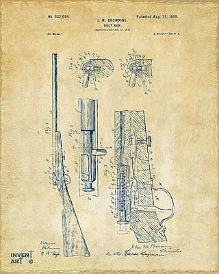 Bolt Digital Art - 1899 Browning Bolt Gun Patent Vintage by Nikki Marie Smith