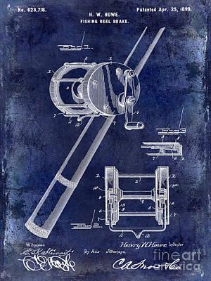 Cape Cod Photograph - 1899 Fishing Reel Brake Patent Drawing Blue by Jon Neidert