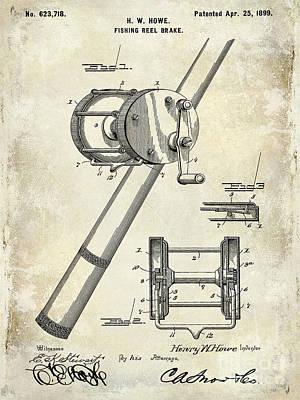 1899 Fishing Reel Brake Patent Drawing Print by Jon Neidert