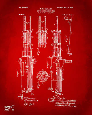 1899 Garland Automatic Machine Gun Patent Artwork - Red Art Print by Nikki Marie Smith