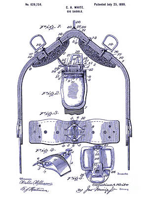 Saddle Drawing - 1899 Gig Saddle Patent Drawing Blueprint by Jon Neidert