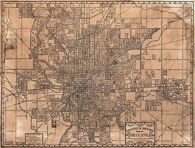Capitol Mixed Media - 1899 Indianapolis Map by Dan Sproul