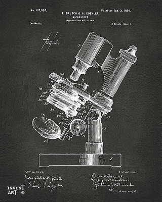 Cave Digital Art - 1899 Microscope Patent Gray by Nikki Marie Smith