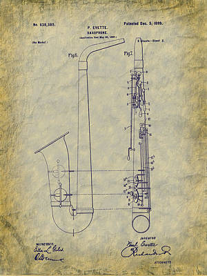 Digital Art - 1899 Paul Evette Saxophone Patent by Barry Jones