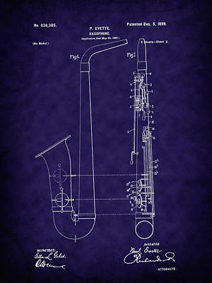 Digital Art - 1899 Paul Evette Saxophone Patent - Blue by Barry Jones
