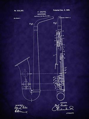 1800 Blueprint Digital Art - 1899 Paul Evette Saxophone Patent - Blue by Barry Jones