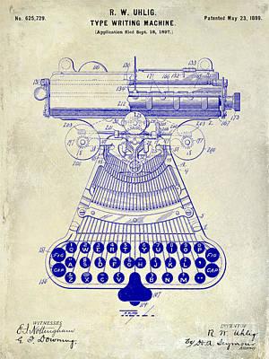 1899 Photograph - 1899 Type Writer Patent Drawing  by Jon Neidert