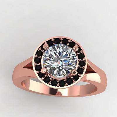 Cubic Zirconia Jewelry - 18k Rose Gold Black Diamond Ring With Moissanite Center Stone by Eternity Collection