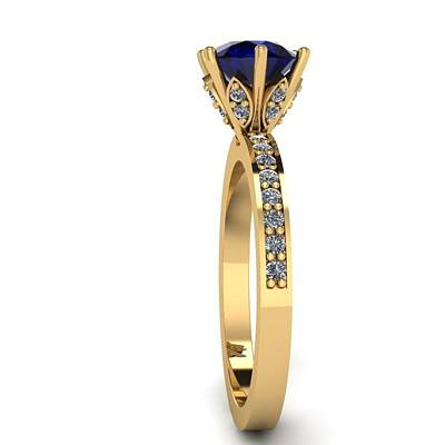 Morganite Jewelry - 18k Yellow Gold Diamond Ring With Blue Sapphire Center Stone by Eternity Collection