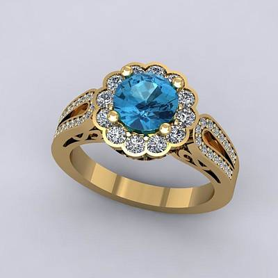 14k Jewelry - 18k Yellow Gold Diamond Ring With Blue Topaz Center Stone by Eternity Collection
