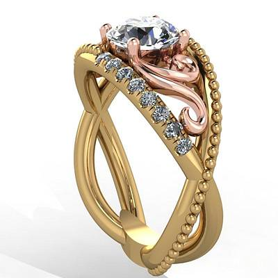Morganite Jewelry - 18k Yellow Rose Gold Diamond Ring With  by Eternity Collection
