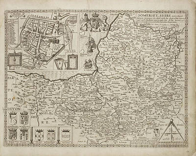 18th Century Map Of Somersetshire Art Print
