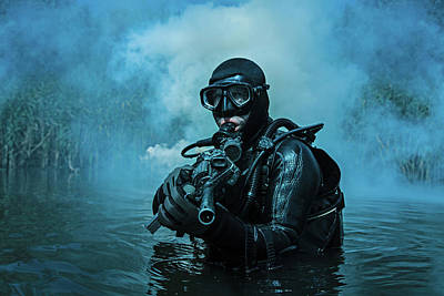 Photograph - Frogman With Complete Diving Gear by Oleg Zabielin