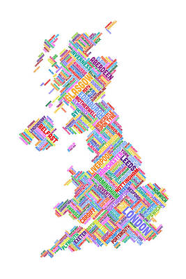England Digital Art - Great Britain Uk City Text Map by Michael Tompsett