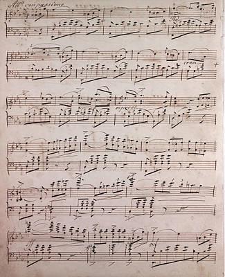 Handwritten Sheet Music, Music Notes, 19th Century Art Print
