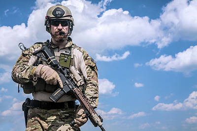 Photograph - United States Army Ranger With Assault by Oleg Zabielin