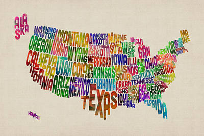 United States Map Digital Art - United States Typography Text Map by Michael Tompsett