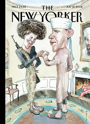 Cartoon Painting - New Yorker July 21st, 2008 by Barry Blitt