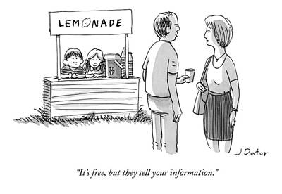 Lemonade Drawing - It's Free But They Sell Your Information by Joe Dator