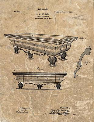 Billiard Mixed Media - 1900 Billiards Table Patent by Dan Sproul