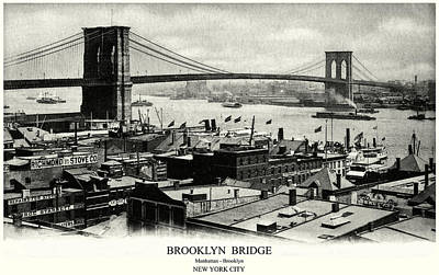 Painting - 1900 Brooklyn Bridge Panorama by Historic Image