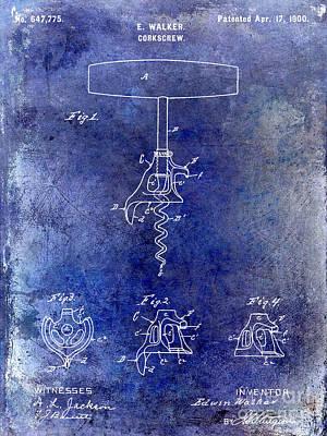 Wine-bottle Drawing - 1900 Corkscrew Patent Drawing Blue by Jon Neidert