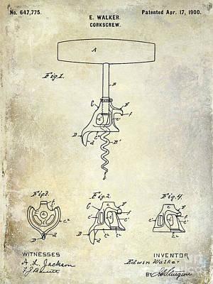 Wine-bottle Drawing - 1900 Corkscrew Patent Drawing by Jon Neidert