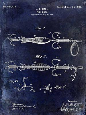 Lake House Photograph - 1900 Fishing Hook Patent Drawing Blue by Jon Neidert