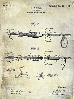 1900 Fishing Hook Patent Drawing Art Print