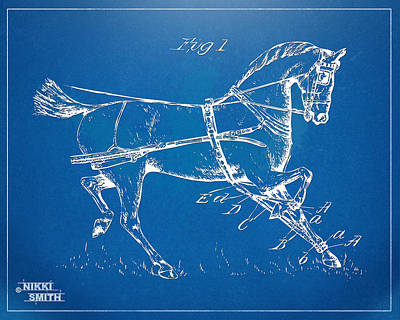 Race Horse Digital Art - 1900 Horse Hobble Patent Artwork by Nikki Smith