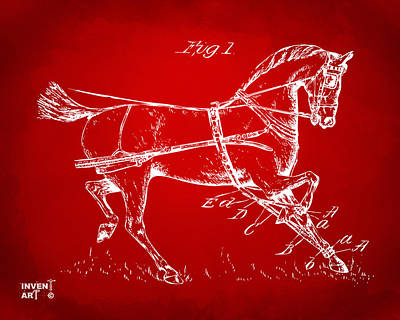 1900 Horse Hobble Patent Artwork Red Art Print by Nikki Marie Smith
