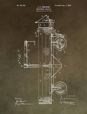 Mechanics Mixed Media - 1900 Truck Patent by Dan Sproul