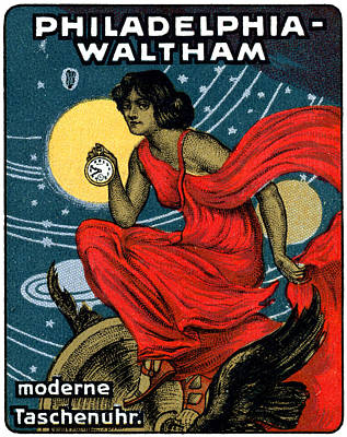 Waltham Painting - 1900 Waltham Pocket Watch Poster by Historic Image