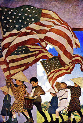 Patriotism Painting - 1900s 1904 Drawing By Maxfield Parrish by Vintage Images