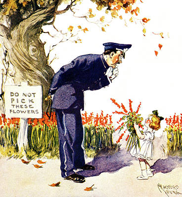 Police Painting - 1900s 1910s Little Girl Handing Bouquet by Vintage Images