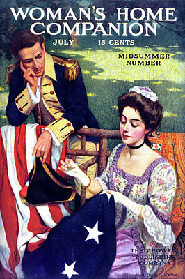 Betsy Ross Painting - 1900s Betsy Ross Sewing First American by Vintage Images
