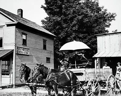 Store Fronts Photograph - 1900s Drawn Farm Wagon At General Store by Vintage Images