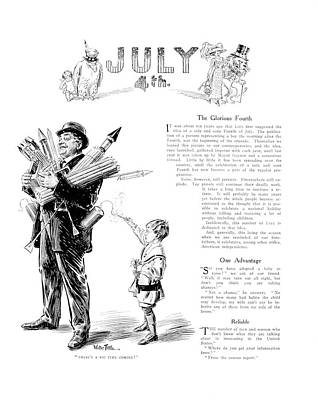 4th Of July Painting - 1900s Illustration Fourth Of July Boy by Vintage Images